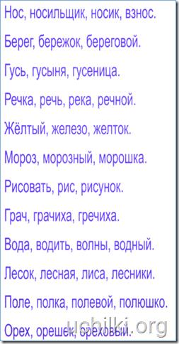 """Работа для закрепление темы """"Однокоренные слова"""""""